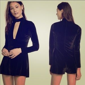 Express plunging neck black velvet romper